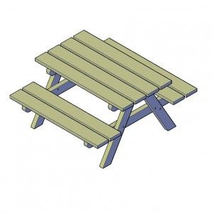 Kinderpicknicktafel bouwtekening