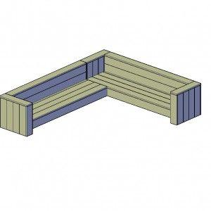 Loungehoekbank type A bouwtekening