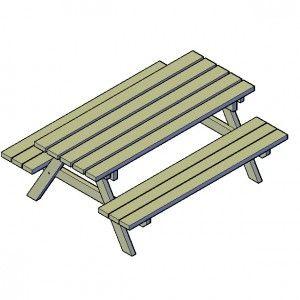 Picknicktafel bouwtekening