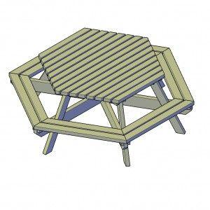 Picknicktafel zeshoek bouwtekening